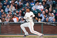 17 April 2009: San Francisco Giants' Emmanuel Burriss hits the ball during the San Francisco Giants' 2-0 win against the Arizona Diamondbacks at AT&T Park in San Francisco, CA.