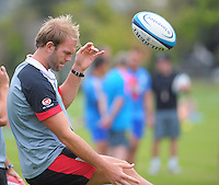St Kilda's Beau Wilkes kicks the ball during the Hurricanes Super 15 rugby training at Hutt Recreation Ground, Lower Hutt, Wellington, New Zealand on Thursday, 24 January 2013. Photo: Dave Lintott / lintottphoto.co.nz