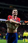 Saul Niguez Esclapez of Atletico de Madrid takes off his shirt after the UEFA Europa League 2017-18 Round of 32 (2nd leg) match between Atletico de Madrid and FC Copenhague at Wanda Metropolitano  on February 22 2018 in Madrid, Spain. Photo by Diego Souto / Power Sport Images