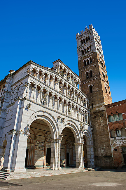 13th century Romanesque facade & Campinale of the Romanesque Cattedrale di San Martino,  Duomo of Lucca, Tunscany, Italy