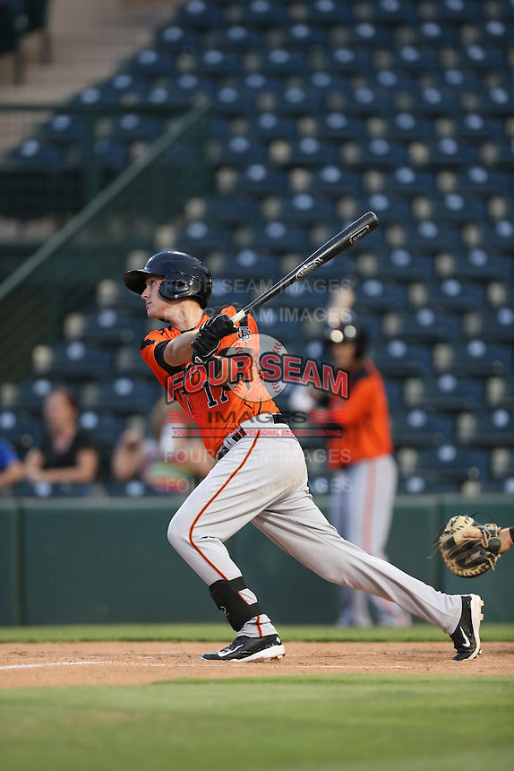 Evan Potter (17) of the AZL Giants bats during a game against the AZL Angels at Tempe Diablo Stadium on July 6, 2015 in Tempe, Arizona. Angels defeated the Giants, 3-1. (Larry Goren/Four Seam Images)