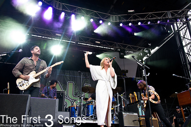 Benny Yurco, Grace Potter, and Scott Tournet of Grace Potter and the Nocturnals perform during the All Good Music Festival at Legend Valley in Thornville, Ohio.