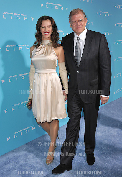 "Director Robert Zemeckis & wife at the Los Angeles premiere of his new movie ""Flight"" at the Cinerama Dome, Hollywood..October 23, 2012  Los Angeles, CA.Picture: Paul Smith / Featureflash"