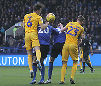 Preston North End's Ben Davies gets a header on goal<br /> <br /> Photographer Mick Walker/CameraSport<br /> <br /> The EFL Sky Bet Championship - Sheffield Wednesday v Preston North End - Saturday 22nd December 2018 - Hillsborough - Sheffield<br /> <br /> World Copyright &copy; 2018 CameraSport. All rights reserved. 43 Linden Ave. Countesthorpe. Leicester. England. LE8 5PG - Tel: +44 (0) 116 277 4147 - admin@camerasport.com - www.camerasport.com