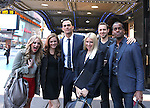 """The cast and creative team from """"The Performers"""",  the left actress Jenni Barber, actress Alicia Silverstone, actor Cheyenne Jackson, actress Ari Graynor, playwright David West Read, actor Daniel Breaker and actor Henry Winkler walk through Times Square to view 'The Performers' Marquee for Press Day at the Hard Rock Cafe on Tuesday, Sept. 25, 2012 in New York."""