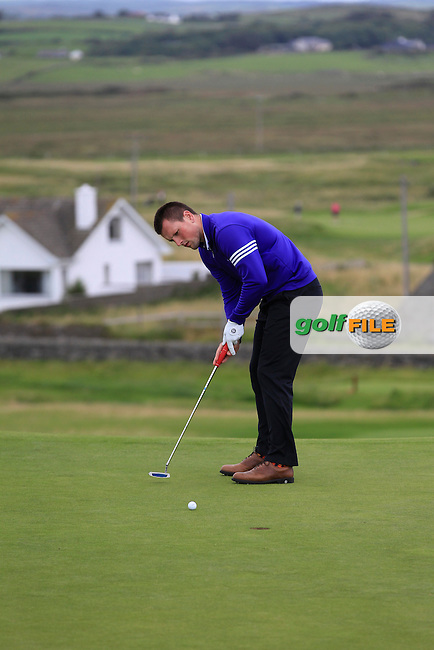 Eoghan Murphy (Cork) on the 1st during Round 2 of The South of Ireland in Lahinch Golf Club on Sunday 27th July 2014.<br /> Picture:  Thos Caffrey / www.golffile.ie