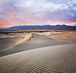 Sand Ripples, Dunes And Mountains At Sunset, Death Valley National Park, California, USA