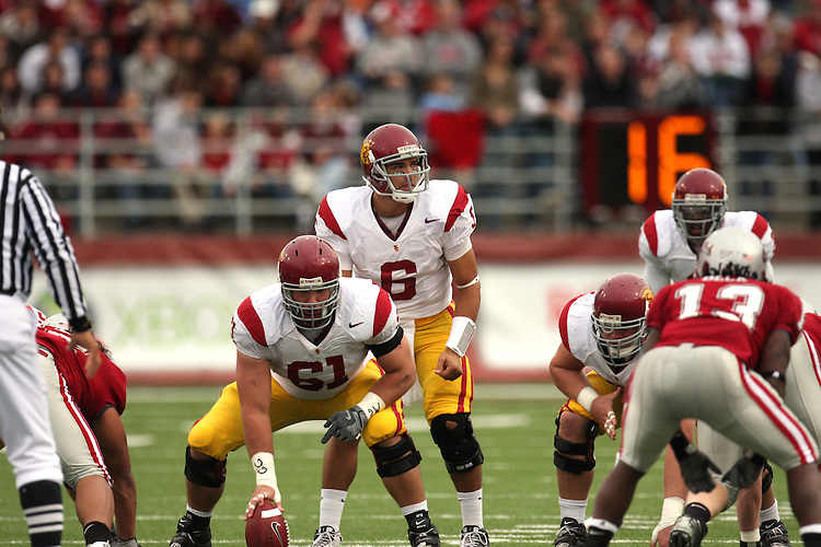 Mark Sanchez (#6) sets up under center during a game between the University of Southern California Trojans and the Washington State Cougars at Martin Stadium in Pullman, Washington, on October 18, 2008.  The Trojans won the game 69-0 to help solidify their spot as one of the top ten teams in the country.