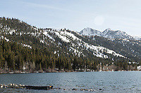 Looking toward the  June Mountain Ski Area from Gull Lake. June Lake, California. March 2014.