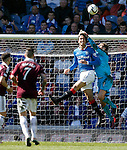 Belil Mohsni heads the ball out of Cammy Bell's gloves for the second time in the game