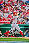 3 April 2017: Washington Nationals starting pitcher Stephen Strasburg at bat on Opening Day against the Miami Marlins at Nationals Park in Washington, DC. Strasburg notched his first win of the season as the Nationals defeated the Marlins 4-2 to open the 2017 MLB Season. Mandatory Credit: Ed Wolfstein Photo *** RAW (NEF) Image File Available ***