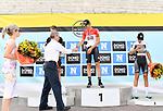 2018-07-07 / Wielrennen / Seizoen 2018 / GP Rik Van Looy Herentals / Het podium met winnaar Brent Van Moer (midden), Niels Boele (l. 2e) en Jelle Schuermans (r. 3e). Rik Van Looy feliciteert de winnaar<br /> <br /> ,Foto: Mpics