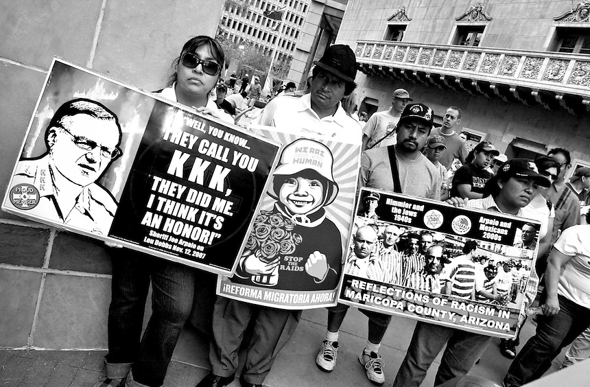 Protest March to Tent City  in Phoenix, AZ on Durango St jail, to protest the injustice towards the undocumented inmates. On Saturday May 2, 2009. Photo by AJ Alexander