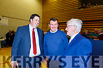 Niall Kelleher, John Sheahan and Sean O'Grady chatting at the Killarney Count Centre on Sunday
