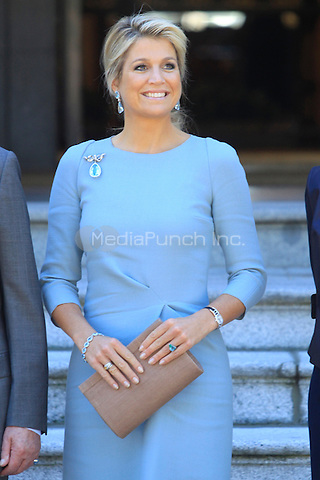Queen Maxima and King William Alexander meet King Juan Carlos, Queen Sofia, Princess Elena, Princess Letizia and Prince Felipe at Zarzuela Palace in Madrid, Spain. 18.09.2013<br /> C. Kasady/insight media /MediaPunch Inc. ***FOR USA ONLY***