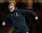 Liverpool's Jurgen Klopp celebrates at the final whistle during the Premier League match at Vicarage Road Stadium, London. Picture date: May 1st, 2017. Pic credit should read: David Klein/Sportimage
