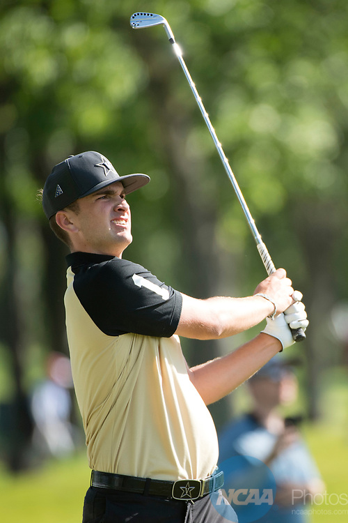 SUGAR GROVE, IL - MAY 29: Will Gordon of Vanderbilt University tees off during the Division I Men's Golf Individual Championship held at Rich Harvest Farms on May 29, 2017 in Sugar Grove, Illinois. (Photo by Jamie Schwaberow/NCAA Photos via Getty Images)