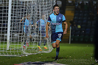 Luke O'Nien of Wycombe Wanderers celebrates after he scores his team's second goal of the game to make it 2-0 during the Sky Bet League 2 match between Wycombe Wanderers and Morecambe at Adams Park, High Wycombe, England on 12 November 2016. Photo by David Horn.