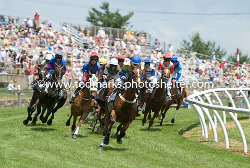 Rounding the downhill turn at Fair Hill.