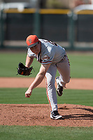 San Francisco Giants relief pitcher Seth Corry (28) follows through on his delivery during a Minor League Spring Training game against the Cleveland Indians at the San Francisco Giants Training Complex on March 14, 2018 in Scottsdale, Arizona. (Zachary Lucy/Four Seam Images)