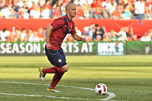 04.06.2011. United States midfielder Michael Bradley (4) brings the ball up field during the USA game against Spain at Gillette Stadium in Foxborough, MA