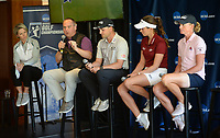 NWA Democrat-Gazette/ANDY SHUPE<br /> Brandt Packer (second from left), lead Golf Channel tournament producer, speaks Tuesday, April 9, 2019, alongside Lisa Cornwell (left), former Fayetteville High School and Arkansas golfer and current Golf Channel anchor, as Austin Cook, Gaby Lopez and Stacy Lewis, all former Arkansas and current professional golfers, listen during a press conference to announce the details of the NCAA Men's and Women's Golf Nation Championship at Blessings Golf Club in Johnson.
