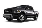 Stock pictures of low aggressive front three quarter view of 2017 Ram 1500 Rebel Crew 4 Door Pick Up