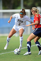 2 October 2011:  FIU forward Chelsea Leiva (2) battles South Alabama defender Jacey Chandler (17) for the ball in the second half as the FIU Golden Panthers defeated the University of South Alabama Jaguars, 2-0, at University Park Stadium in Miami, Florida.