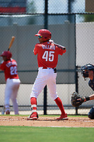 GCL Phillies West Christian Valerio (45) bats during a Gulf Coast League game against the GCL Yankees East on August 3, 2019 at the Carpenter Complex in Clearwater, Florida.  The GCL Yankees East defeated the GCL Phillies West 4-0, the second game of a doubleheader.  (Mike Janes/Four Seam Images)