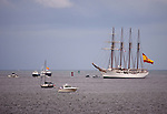 Tall ship schooner Juan Sebastian de Elcano escourted into Pensacola Bay.