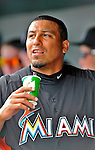 13 March 2012: Miami Marlins pitcher Carlos Zambrano hydrates in the dugout between innings of a Spring Training game against the Atlanta Braves at Roger Dean Stadium in Jupiter, Florida. The two teams battled to a 2-2 tie playing 10 innings of Grapefruit League action. Mandatory Credit: Ed Wolfstein Photo