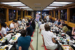 "Customers enjoy dinner an entertainment aboard a ""Yakata-bune"" pleasure boat run by the Yasuda family in Tokyo, Japan on 30 August  2010. .Photographer: Robert Gilhooly"