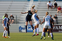 Cary, North Carolina  - Saturday April 29, 2017: Samantha Mewis (5) and Nickolette Driesse (20) during a regular season National Women's Soccer League (NWSL) match between the North Carolina Courage and the Orlando Pride at Sahlen's Stadium at WakeMed Soccer Park.