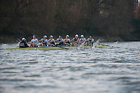 08.03.2014. River Thames, London, England.  German VIII in action during the OUBC v German VIII rowing fixture.  The head to head race on the Tideway between Oxford University Boat Club VIII and a representative German VIII as part of the preparation for the 160th running of the University Boat Race sponsored by BNY Mellon on April 6th 2014.