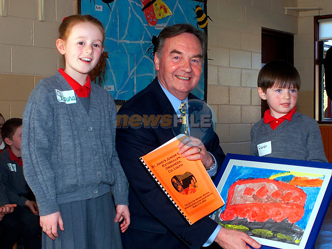 Shauna Flood,and Ciaran Cassidy with The Minister for Education Dr Michael Woods in St John,s School...Pic Tony Campbell/Newsfile