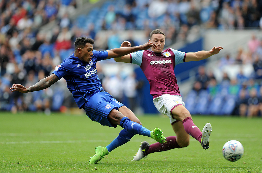 Cardiff City's Nathaniel Mendez-Laing has a shoot at goal<br /> <br /> Photographer Ashley Crowden/CameraSport<br /> <br /> The EFL Sky Bet Championship - Cardiff City v Aston Villa - Saturday August 12th 2017 - Cardiff City Stadium - Cardiff<br /> <br /> World Copyright &copy; 2017 CameraSport. All rights reserved. 43 Linden Ave. Countesthorpe. Leicester. England. LE8 5PG - Tel: +44 (0) 116 277 4147 - admin@camerasport.com - www.camerasport.com