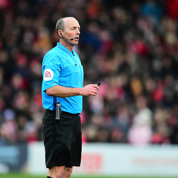 Referee Mike Dean<br /> <br /> Photographer Andrew Vaughan/CameraSport<br /> <br /> The EFL Sky Bet League Two - Lincoln City v Grimsby Town - Saturday 19 January 2019 - Sincil Bank - Lincoln<br /> <br /> World Copyright © 2019 CameraSport. All rights reserved. 43 Linden Ave. Countesthorpe. Leicester. England. LE8 5PG - Tel: +44 (0) 116 277 4147 - admin@camerasport.com - www.camerasport.com