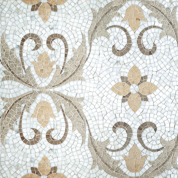 Gabriel , a hand-cut stone mosaic, shown in polished Calacatta, Driftwood, and honed Jura Beige and Gascogne Blue.