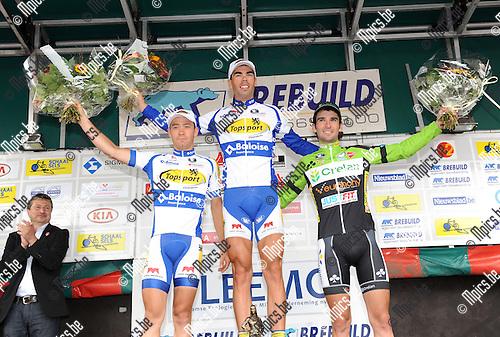 2013-09-01 / Wielrennen / Schaal Sels / Het podium met winnaar Pieter Jacobs (midden), tweede Michael Van Staeyen (l.) en derde Baptiste Planckaert.
