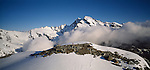 Tramper in the Southern Alps in the headwaters of the Wanganui Valley. Westland Region. New Zealand.