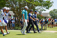 Brooks Koepka (USA), Rory McIlroy (NIR), and Jason Day (AUS) head down 1 during round 1 of the WGC FedEx St. Jude Invitational, TPC Southwind, Memphis, Tennessee, USA. 7/25/2019.<br /> Picture Ken Murray / Golffile.ie<br /> <br /> All photo usage must carry mandatory copyright credit (© Golffile | Ken Murray)