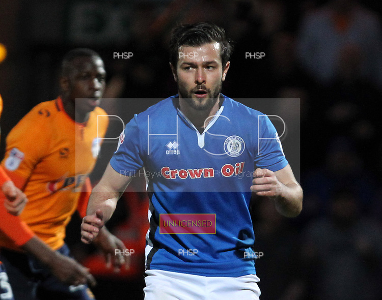 Rochdale v Oldham. SkyBet League One. 17/4/2018 <br /> <br /> Rochdale's Joe Rafferty, after his penalty miss.<br /> <br /> Credit: PHSP/Harry McGuire.