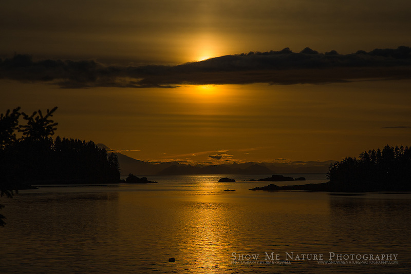 Midnight Sunset, from cabin at Little Tutka Bay, Alaska