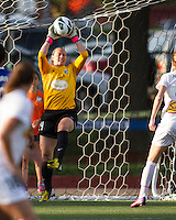 In a National Women's Soccer League Elite (NWSL) match, the Boston Breakers defeated the Western New York Flash  2-1, at Dilboy Stadium on May 5, 2013.  Boston Breakers goalkeeper Ashley Phillips (24) saves a kick at goal.