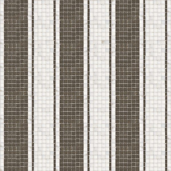 Pinstripe. a hand-cut stone mosaic, shown in polished Thassos and honed Montevideo.