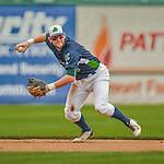 9 July 2015: Vermont Lake Monsters infielder Mikey White in action against the Mahoning Valley Scrappers at Centennial Field in Burlington, Vermont. The Lake Monsters rallied to tie the game 4-4 in the bottom of the 9th, but fell to the Scrappers 8-4 in 12 innings of NY Penn League play. Mandatory Credit: Ed Wolfstein Photo *** RAW Image File Available ****