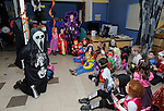 Liam Duggan entertains/scares the kids from Ennis NS at the Clare Champion Halloween Party. Photograph by John Kelly.