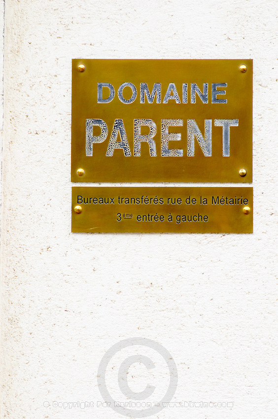 sign domaine parent pommard cote de beaune burgundy france