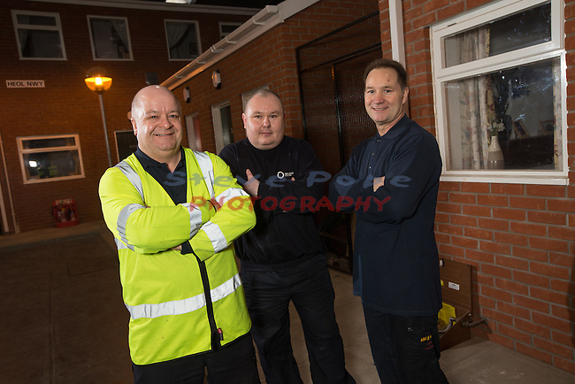 Wales &amp; West Utilities<br /> David Evans, Philip Raybould &amp; Sean Ward.<br /> Emergency gas engineers.<br /> Treforest.<br /> 17.12.15<br /> &copy;Steve Pope - Fotowales
