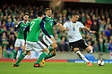 Northern Ireland's Gareth McAuley fails to stop Germany's Sandro Wagner from scoring the second goal against N. Ireland during the FIFA World Cup 2018 Qualifying Group C qualifying soccer match between Northern Ireland and Germany at the National Football Stadium at Windsor Park, Belfast, Northern Ireland, 5 Oct 2017. Photo/Paul McErlane